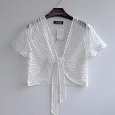 2015 High quality Summer Fashion Womens Clothing Wild Perspective Small Shawl Chiffon Lace Cardigan Gauze Lacing Boleros 802E 30
