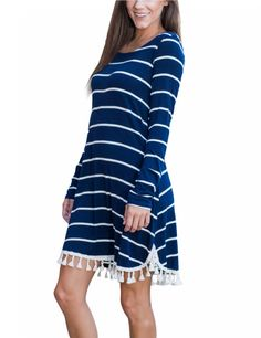YesFashion Women's Round Neck Long Sleeve Stripe Tassels Casual Dress Blue and White - Yesfashion.com in Free Shipping