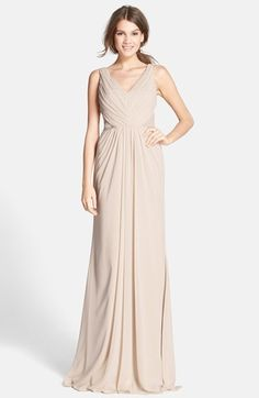 $328, Monique Lhuillier Bridesmaids Lace Back Chiffon Gown. Sold by Nordstrom. Click for more info: https://lookastic.com/women/shop_items/289358/redirect