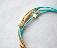 Mint Green Leather Bracelet with Stars and Tubes.