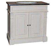 Meuble de salle de bains pin et porcelaine, blanc - L90