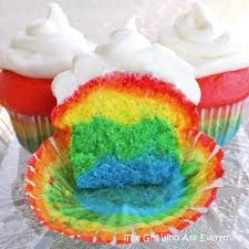 gotta try its as easy as can be all you have to do is buy a white cake mix and divide it into 4 or 6 parts it depends on how many colors you'd like to have then mix the cake mix with the food coloring you'd like and bake ... then wallah :)