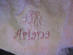 Monogrammed Towel Wrap with ballet design.