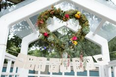 "Photo by Melanie Wessels ""Mr & Mrs"" bunting by Match Set Love, floral moss heart by Bespoke Blooms Wedding Shoot, Bunting, Bespoke, Real Weddings, Christmas Wreaths, Bloom, Holiday Decor, Heart, Floral"