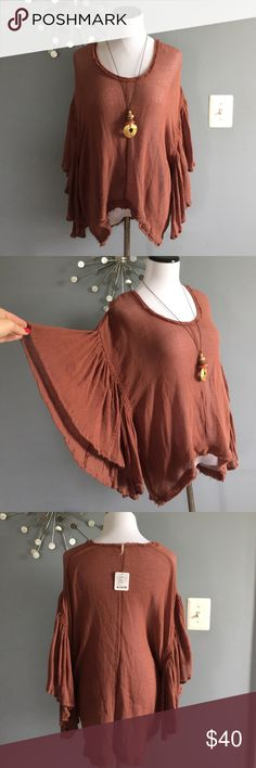 NWT Free People boho rust colored top Never worn. Adorable. Free People Tops Blouses