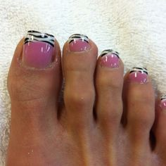 Acrylic nails on toes with zebra print..so cute! I would do this on my nails not my toes...