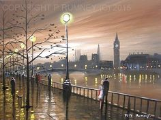 PETE RUMNEY FINE ART MODERN ACRYLIC OIL ORIGINAL PAINTING LONDON ROMANCE LOVE NR in Art, Artists (Self-Representing), Paintings | eBay