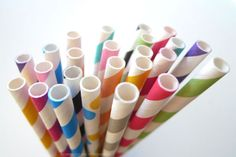 """Sample pack of Paper Straws striped and dots - great for wedding, birthdays and anytime you need to add some colors to your party or get together!Pack of 24 of paper straws in sample pack**** 2 of 12 different colors - random selection of colors, but it will most likely have mix confetti dots, black, grey, blue, aqua, lime green, hot pink, princess pink, peach orange, yellow, a red****7 3/4"""" long Food safe & FDA Approved Earth Friendly & Bio-degradable Thic..."""