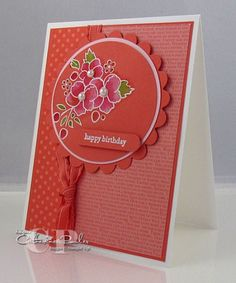 handmade birthday card ...  flowers from Bordering on Romance embossed in white,  bleached  and watercolored on deep coral paper ... beautiful look ...  cardstock, patterned papers, ribbon and in all the same color ... calm and harmonious ... great card ... This is part of an on-line group/class ... check their blog for into on joining ... Stampin' Up!