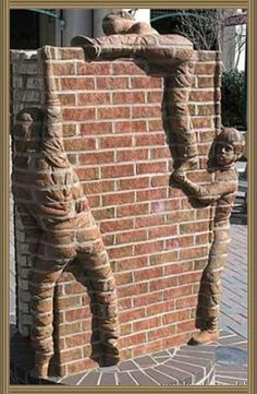 Post with 576 votes and 6580 views. Some kids climbing a brick wall. Art Mural 3d, 3d Wall Art, Stained Brick, Kids Climbing, Brick Art, Brick In The Wall, Brick Design, Wall Design, Viajes