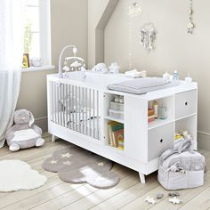 White and Grey Cot and Changer Combo L 190 Celeste Baby Nursery Decor, Baby Bedroom, Baby Boy Rooms, Baby Cribs, Baby Decor, Nursery Room, Kids Bedroom, Baby Boys, Babies Rooms