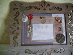 """5 X 7""""  Mixed Media Collage in a Distressed Wood Scroll Frame, by ScatterCreations, $17.99"""