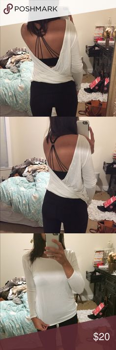 Tobi small white backless drape long sleeve top Beautiful backless top from Tobi, only worn once! Super cute with a strappy bra or completely backless. Tobi Tops