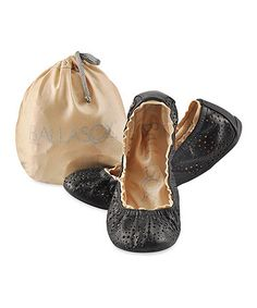 Another great find on #zulily! Black Cutout Turquesa Leather Ballet Flat by Ballasox #zulilyfinds