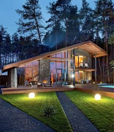 Chalet entre pierre et bois par YOD Design Lab – Poltava – Russie Chalet Design, Style At Home, Future House, My House, Cabin Homes, Home Fashion, My Dream Home, Exterior Design, Modern Architecture