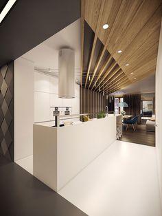 Cucina moderna con illuminazione retro e vintage in appartamento moderno ed elegante