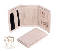 Hemp Wallet - Natural - 100% HEMP - Biodegradable & Eco Friendly. - Tri-fold durable construction - 5 Compartments including zipper pouch and ID carrier - Velcro fastener - Dimensions: 5 1/4 (135mm) x
