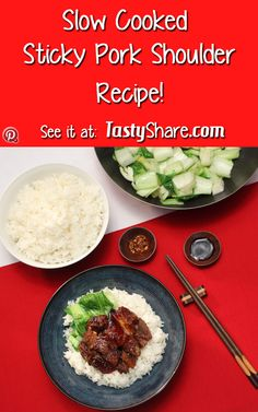 Amazing slow cooked sticky pork that falls apart in your mouth, served beside a nice helping of crispy, juicy, delicious greens. This one is sure to become a regular dish. #pork #slowcookedpork #recipes #easydinners