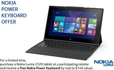 Nokia offers free power keyboard with Lumia 2520 tablet to those who buys the tablet before 2 December - http://cosimple.com/nokia-lumia-2520-free-power-keyboard/
