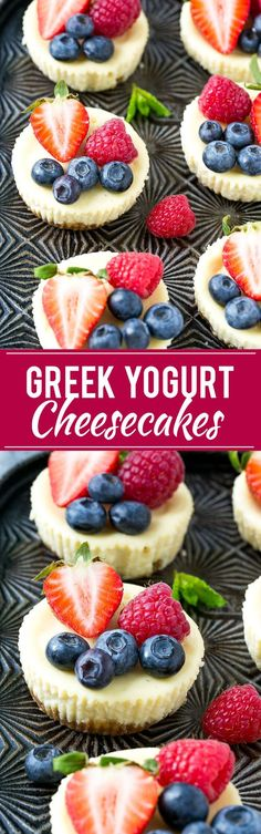 This recipe for Greek yogurt cheesecakes is mini cheesecakes that have been lightened up with Greek yogurt and topped with fresh berries.