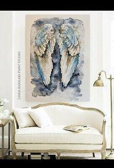 Limited Edition Art Print Angel Wings Unframed A3 Linda Karslake    eBay Angel Wings Painting, Angel Wings Art, Paint Studio, A3, Collage Art, Art Work, Art Prints, Ideas, Design