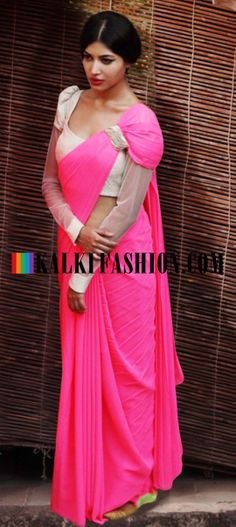 Buy Online from the link below. We ship worldwide (Free Shipping over US$100) http://www.kalkifashion.com/gaurav-gupta-pre-draped-saree-in-pink.html Gaurav Gupta pre draped saree in pink