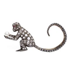 Victorian Diamond Monkey Brooch | From a unique collection of vintage brooches at http://www.1stdibs.com/jewelry/brooches/brooches/