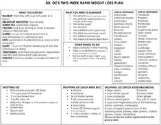 Dr. Oz's Rapid Weight-Loss Plan One-Sheet - The Dr. Oz Show Diet Plans To Lose Weight, Weight Loss Plans, Weight Loss Program, Weight Loss Tips, How To Lose Weight Fast, 2 Week Weight Loss Plan, Rapid Weight Loss, Losing Weight, Quick Weight Loss Diet