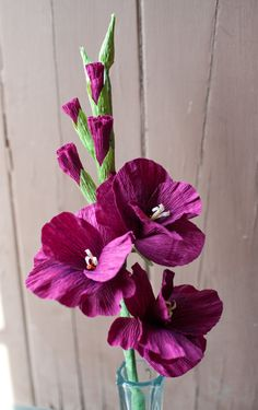 Crepe Paper Gladiolus Flower 18 inch stem by DiddleBug on Etsy