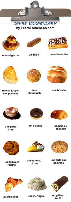 Educational infographic : Free Audio Lesson Printable Flashcards Video to Learn French Cakes Vocabulary French Teaching Resources, Teaching French, Spanish Activities, Teaching Spanish, French Cake, French Food, Learn To Speak French, French Patisserie, Patisserie Paris