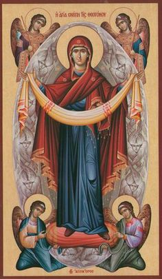 The Holy Protection of the Theotokos Religious Images, Religious Icons, Religious Art, Byzantine Icons, Byzantine Art, Christian Artwork, Religion Catolica, Blessed Mother Mary, Catholic Art