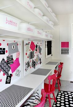 thistlewoodfarms.com - hot pink, black & white craft room with polka dot flooring, labeled white bins
