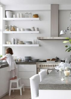 white modern kitchen with grey counter