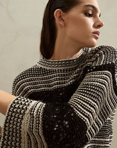 Dazzling sweater (211MBA380600) for Woman | Brunello Cucinelli Knitwear Fashion, Knit Fashion, Sweater And Shorts, Brunello Cucinelli, Crochet Clothes, Pulls, Sweaters For Women, Ready To Wear, Jumpers