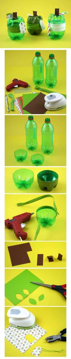 Make these Zippy Apples by upcycling plastic soda bottles into spill-proof containers.Loving this cute craft tutorial!