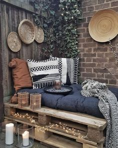 # garden furniture # pallet furniture # garden decoration # garden decoration You are in the right place for western home decor When it comes to designing your dream home, the first things tha Small Balcony Decor, Balcony Design, Small Patio, Balcony Ideas, Patio Ideas, Diy Casa, Apartment Balconies, Apartment Balcony Decorating, Outdoor Spaces