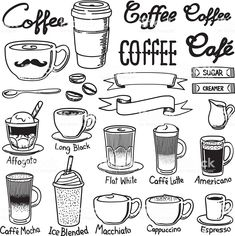 A set of coffee related icon set. Every icon is grouped individually. - Coffee Icon - Ideas of Coffee Icon - coffee icon sets vector art illustration Coffee Icon, Coffee Art, Coffee Meme, Coffee Poster, Coffee Signs, Funny Coffee, Coffee Quotes, Bullet Journal Ideas Pages, Bullet Journal Inspiration