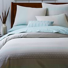 Woven Zigzag Stripe Duvet Cover + Shams - Pale Harbor