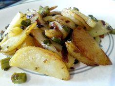Patatas y espárragos a la plancha salteados con mantequilla