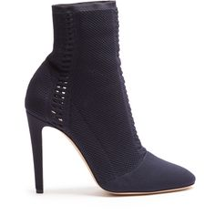 Gianvito Rossi Vires sock ankle-boots (10 495 SEK) ❤ liked on Polyvore featuring shoes, boots, ankle booties, navy, navy blue short boots, navy boots, navy ankle boots, bootie boots and navy bootie