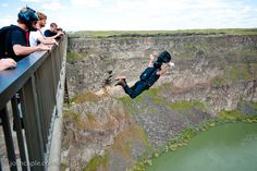 Base Jumping on the Perrine Bridge in Twin Falls Idaho.  One of only 2 places in the US that it is legal to BASE jump.