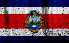 Download wallpapers Costa Rican flag, 4k, grunge, North America, flag of Costa Rica, national symbols, Costa Rica, coat of arms Costa Rica, Costa Rican national emblem