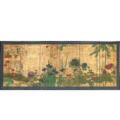 Japanese Screen Rimpa Style Garden Landscape | From a unique collection of antique and modern paintings and screens at https://www.1stdibs.com/furniture/asian-art-furniture/paintings-screens/