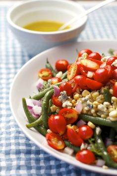 Simple Green Bean Corn and Tomato Salad with Vinaigrette