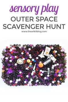 Looking for something fun that will entertain the children for hours on end? We've discovered the secret - water bead sensory bins! Our latest theme - outer space - is sure to be a hit! We even incorporated another fun element and made it into a scavenger Space Theme Preschool, Space Activities For Kids, Crafts For Kids, Library Activities, Summer Activities, Sensory Bins, Sensory Activities, Preschool Activities, Sensory Play