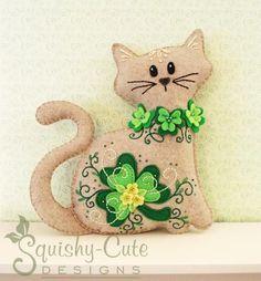 Felt St. Patrick's Day Cat Plushie  pattern on Craftsy.com