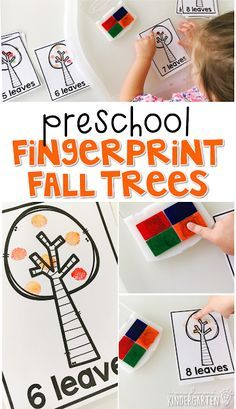 This fall fingerprint trees are a super fun way to practice number identification, counting, and fine motor skills with a fall theme. Great for tot school, preschool, or even kindergarten! Welcome To Preschool, Fall Preschool Activities, Preschool At Home, Preschool Curriculum, Preschool Lessons, Preschool Classroom, Preschool Learning, Preschool Crafts, Learning Activities