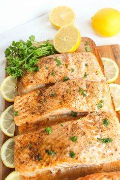 Baked Salmon Fillets with Herbs and Lemon
