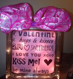 Valentine's Day lighted glass block.  Check out my custom made lighted glass blocks at my Etsy store IrwinRags!https://www.etsy.com/shop/IrwinRags
