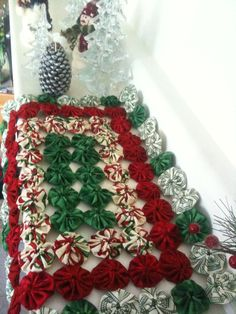 Whimsy Christmas Table runner 17 inch by DownHomeYoyoBoutique